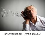 curious old man in white is... | Shutterstock . vector #795510160