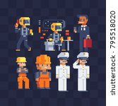 different profession set. pixel ... | Shutterstock .eps vector #795518020