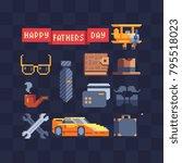 men's accessories set. pixel 80'... | Shutterstock .eps vector #795518023