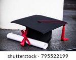 graduation mortarboard and... | Shutterstock . vector #795522199