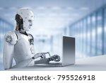 3d rendering humanoid robot... | Shutterstock . vector #795526918