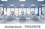 3d rendering humanoid robots... | Shutterstock . vector #795529078