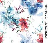 summer flowers seamless pattern.... | Shutterstock . vector #795530836
