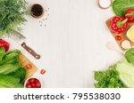healthy vegetarian ingredients... | Shutterstock . vector #795538030