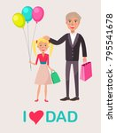 father and blonde daughter... | Shutterstock . vector #795541678