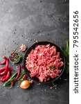 mince. ground meat with... | Shutterstock . vector #795542656