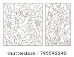 set contour illustrations of... | Shutterstock .eps vector #795543340
