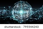 digital sphere and holograms... | Shutterstock . vector #795544243