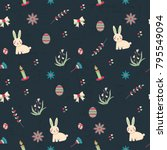 vector pattern on easter theme. ... | Shutterstock .eps vector #795549094