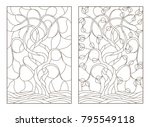 set contour illustrations of... | Shutterstock .eps vector #795549118