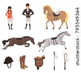Cartoon Jockey Icons Set With...