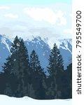 wolf double exposure mountain... | Shutterstock .eps vector #795549700