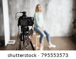 backstage to photoshooting in... | Shutterstock . vector #795553573