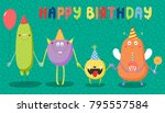 hand drawn birthday card with... | Shutterstock .eps vector #795557584