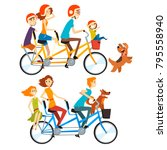 two happy families riding on... | Shutterstock .eps vector #795558940