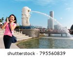 woman happy on landmark... | Shutterstock . vector #795560839