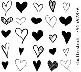 hearts hand drawn icons set... | Shutterstock .eps vector #795562876