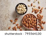 peeled  blanched  and... | Shutterstock . vector #795564130