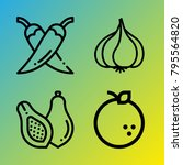 vegetarian vector icon set... | Shutterstock .eps vector #795564820