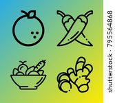 vegetarian vector icon set... | Shutterstock .eps vector #795564868