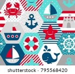 seamless nautical themed vector ... | Shutterstock .eps vector #795568420
