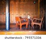 living room  thai style wooden...   Shutterstock . vector #795571336