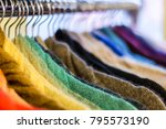 different colorful woolen... | Shutterstock . vector #795573190
