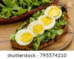 boiled egg on salad | Shutterstock . vector #795574210