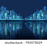 modern night city skyline at... | Shutterstock . vector #795575029