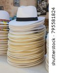 stack of straw hats in the gift ... | Shutterstock . vector #795581824