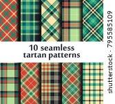 set of seamless tartan patterns | Shutterstock .eps vector #795585109