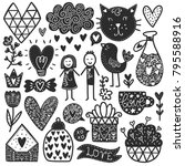 scandinavian doodles elements.... | Shutterstock .eps vector #795588916