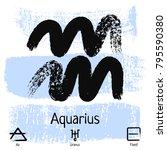 aquarius. zodiac sign pictogram....   Shutterstock .eps vector #795590380