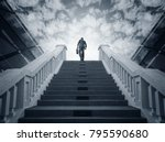 businessman climbing stairs.... | Shutterstock . vector #795590680