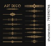 set of art deco dividers and... | Shutterstock .eps vector #795590746