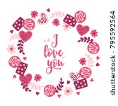valentine wreath with candy ... | Shutterstock .eps vector #795592564