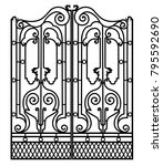 metal gate with forged... | Shutterstock . vector #795592690