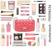 vector makeup cosmetics with... | Shutterstock .eps vector #795598156