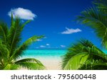 tropical beach in maldives | Shutterstock . vector #795600448
