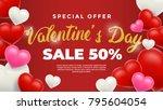 happy valentines day background ... | Shutterstock .eps vector #795604054