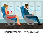 passengers young beautiful girl ... | Shutterstock .eps vector #795607360