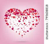 hearts on the pink background.... | Shutterstock .eps vector #795608818