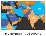 political map of south asia and ... | Shutterstock .eps vector #795609043