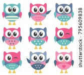 set of cute colorful owls | Shutterstock .eps vector #795609838