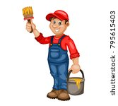painter vector character  with...   Shutterstock .eps vector #795615403