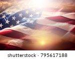 usa flag. american flag.... | Shutterstock . vector #795617188
