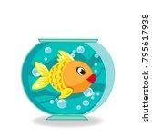 cute cartoon goldfish in... | Shutterstock .eps vector #795617938