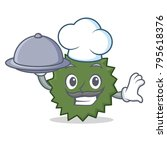 chef with food durian mascot... | Shutterstock .eps vector #795618376