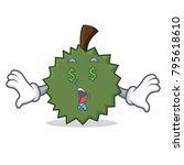 money eye durian mascot cartoon ... | Shutterstock .eps vector #795618610
