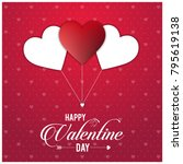 happy vakentine's day card with ... | Shutterstock .eps vector #795619138